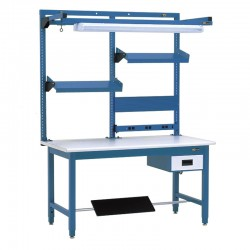 "IAC Workbench w/ 6"" Drawer, Footrest, 3-Post Shelf System, Tool Trolley, Electrical Channel & Overhead Light 30-36"" x 48-72"""