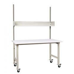 "IAC Packing Shipping Table - 30-36""D x 60-72""W x 48""H, Casters, 6"" high Shelf, Bundle 3"