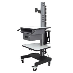 IAC S8 Mobile/Rolling Computer Cart w/ Keyboard Tray, Shelf & Drawer