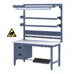 "IAC Workbench w/ 6"" & 12"" Drawers, Footrest, Shelves, Multi Bin Rail, Electrical Channel & Overhead Light 30-36"" x 48-72"""