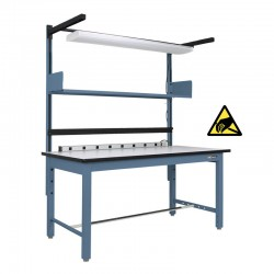 "Steel Industrial ESD Workbench/Work Table 30-36"" by 60-72"" w/shelf, w/light, electrical channel"