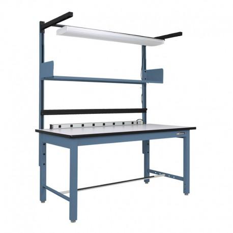 """Steel Industrial ESD Workbench/Work Table 30-36"""" by 60-72"""" w/shelf, w/light, electrical channel"""