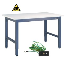 "IAC Industrial Workbench / Work Table - Heavy Duty Steel, EZE Blue, ESD Surface, 60"" x 30"""