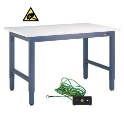 "IAC Industrial Workbench / Work Table - Heavy Duty Steel, EZE Blue, ESD Surface, 96"" x 36"""