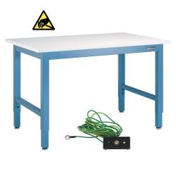 "IAC Industrial Workbench / Work Table - Heavy Duty Steel, Sky Blue, ESD Surface, 96"" x 36"""