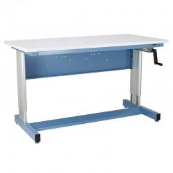 IAC Hand Crank Height Adjustable Industrial Workbench, Sky Blue, Standard Surface