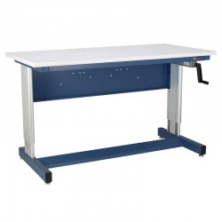 IAC Hand Crank Height Adjustable Industrial Workbench, EZE Blue, Standard Surface