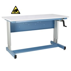IAC Hand Crank Height Adjustable Industrial Workbench, Sky Blue, ESD Surface