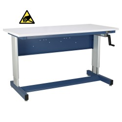 IAC Hand Crank Height Adjustable Industrial Workbench, EZE Blue, ESD Surface