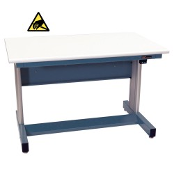 IAC Electric Height Adjustable Industrial Workbench, Sky Blue, ESD Surface