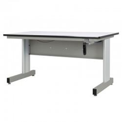Hand Crank Height Adjustable Industrial Workbench, Gun Metal Gray
