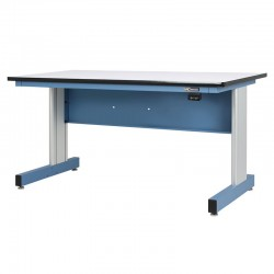 Motorized Electric Height Adjustable Industrial Workbench, Textured Sky Blue