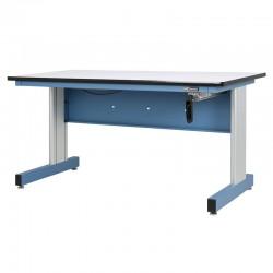 Hand Crank Height Adjustable Industrial Workbench, Sky Blue
