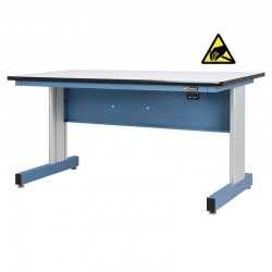 Motorized Electric Height Adjustable Industrial Workbench, Textured Sky Blue, ESD Surface